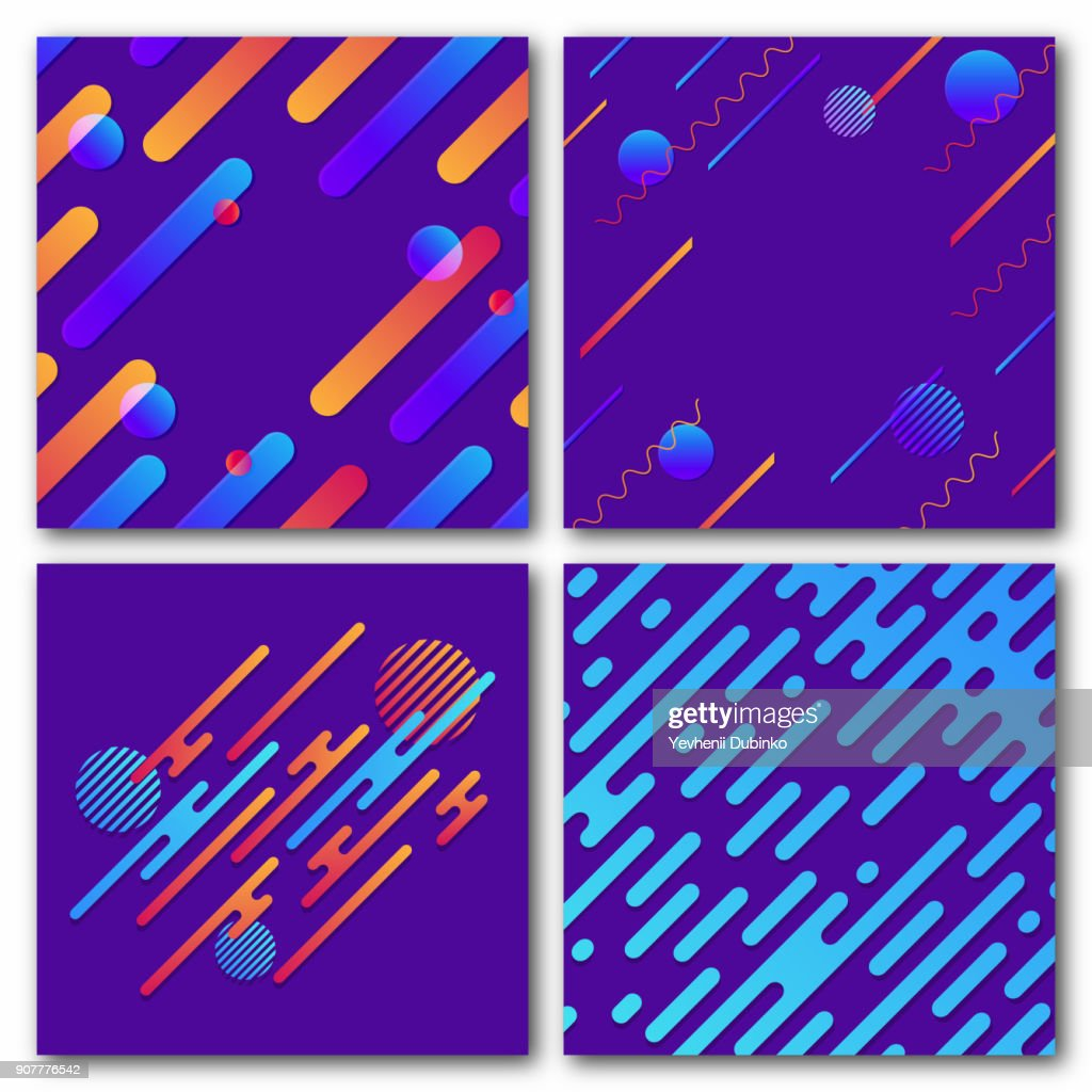 Set of abstract geometric backgrounds. Modern dynamic pattern. Rounded diagonal lines with circles, waves