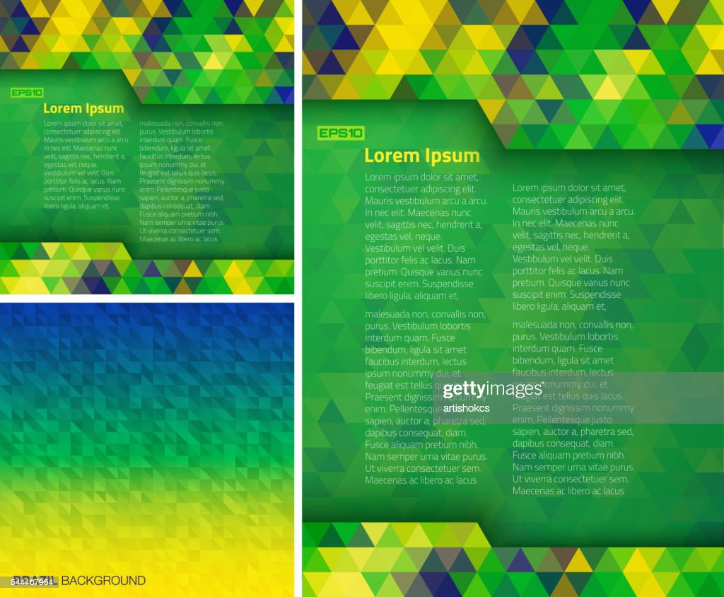 Set of Abstract geometric digital backgrounds using Brazil flag colors