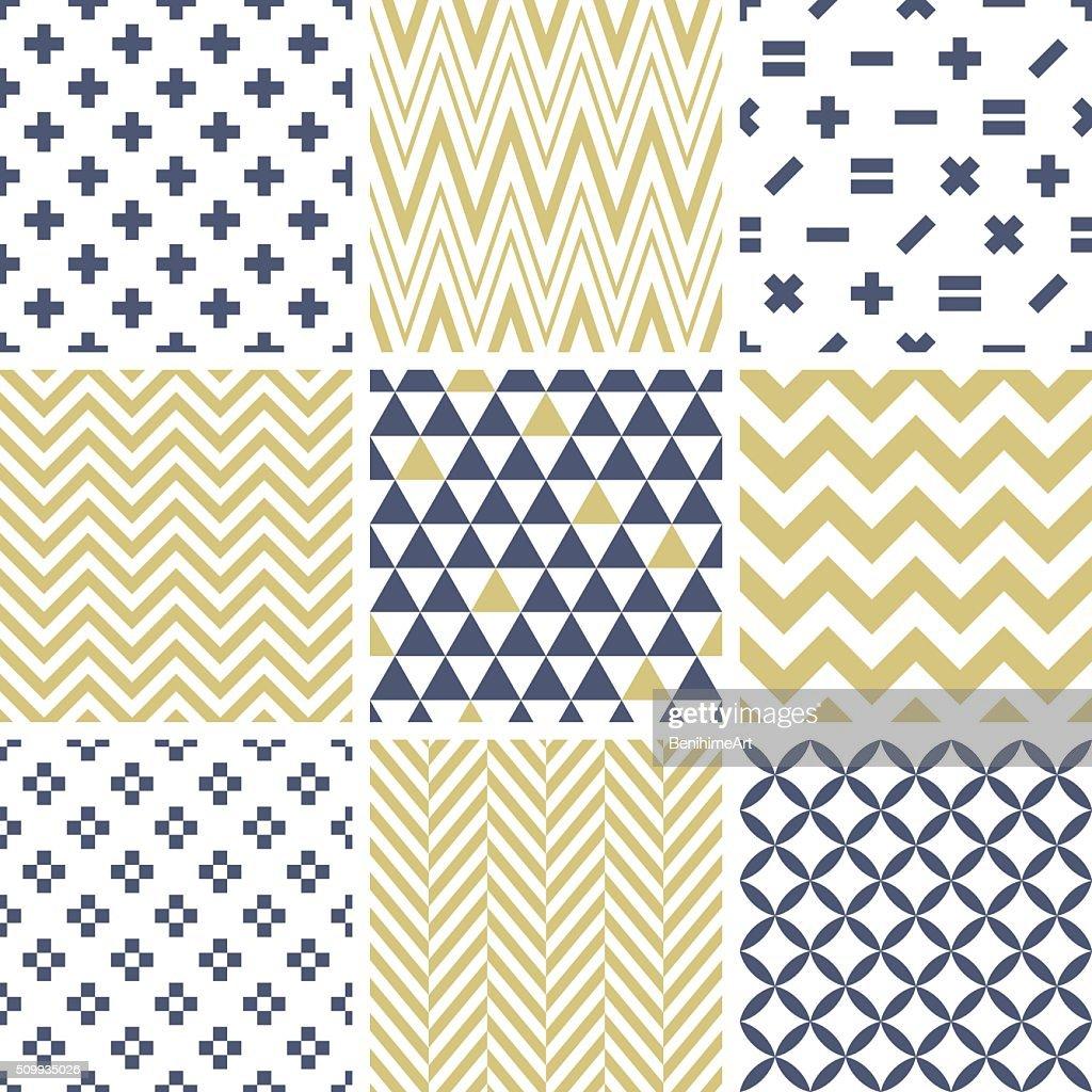 Set of abstract geometric seamless patterns