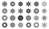 Set of abstract geometric symmetric center shapes.  Design elements, ornaments. Vector monochrome illustration.