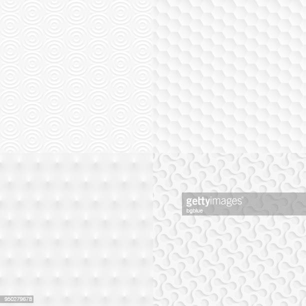 set of abstract geometric textures - trendy white background - white stock illustrations