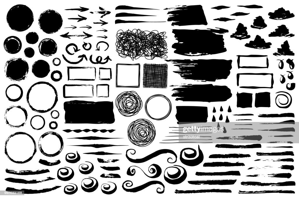 Set of abstract grungy brush strokes