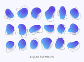 Set of abstract liquid shape. Gradient iridescent shapes. Set isolated liquid elements of holographic design.