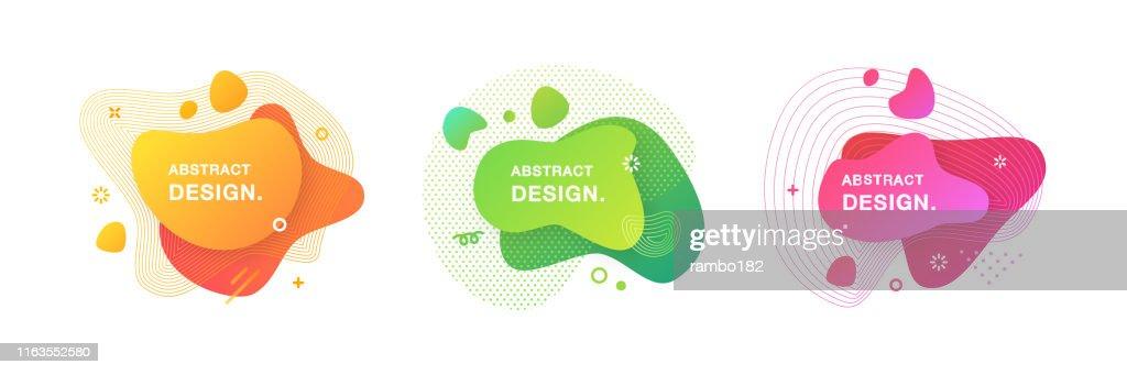 Satz von abstrakten modernen Grafikelementen. Satz von flüssigen Farbverlauf Formen und Banner. : Stock-Illustration