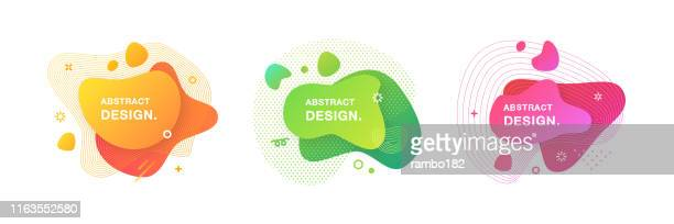 illustrazioni stock, clip art, cartoni animati e icone di tendenza di set of abstract modern graphic elements. set of liquid gradient shapes and banners. - design