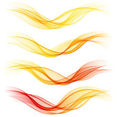 Set of abstract orange waves. Vector illustration