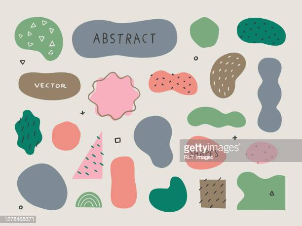 set of abstract organic shapes and textures for design layouts — hand-drawn vector elements - shape stock illustrations