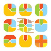 Set of abstract rounding square histogram. Templates creative sectoral graphs . Colorful elements for infographics. Vector