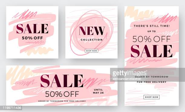illustrazioni stock, clip art, cartoni animati e icone di tendenza di set of abstract sale backgrounds - saldi