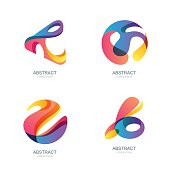 Set of abstract shapes for trendy label, icons.