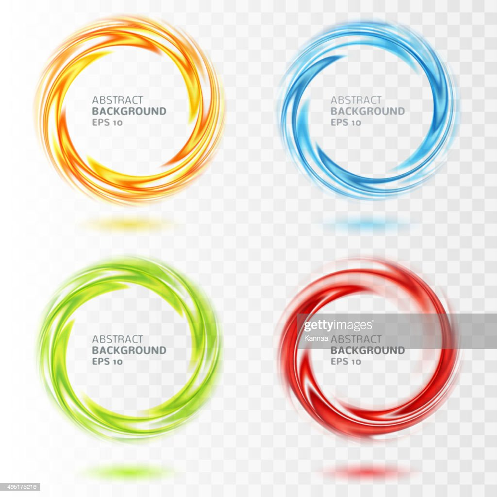 Set of abstract swirl circle on transparent background