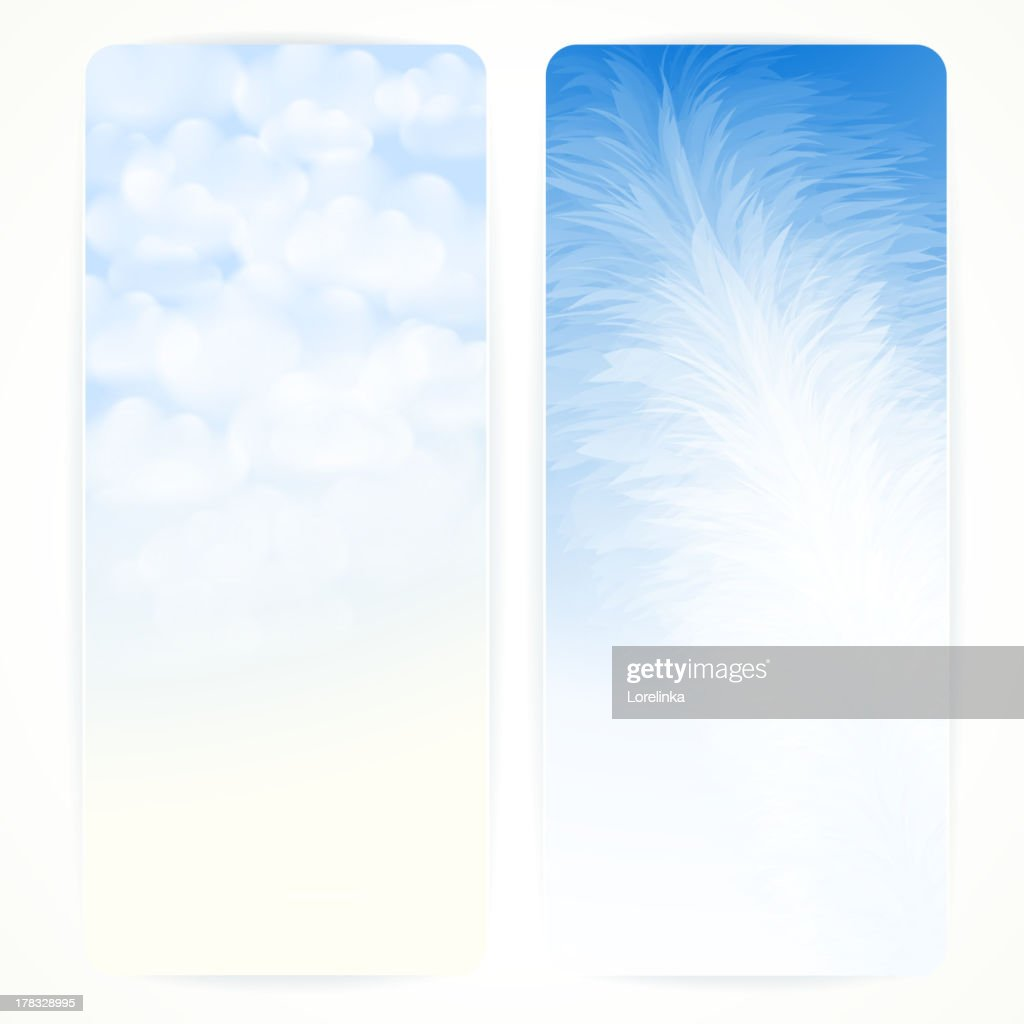 Set of abstract vector banners with feather and clouds.