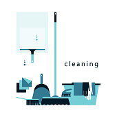 A set of accessories for cleaning. Brushes, latex gloves, scoop, basin, wiper. Flat icons. Vector illustration.