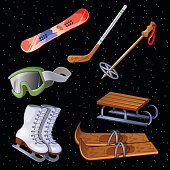 Set of accessories for winter sports, seven items