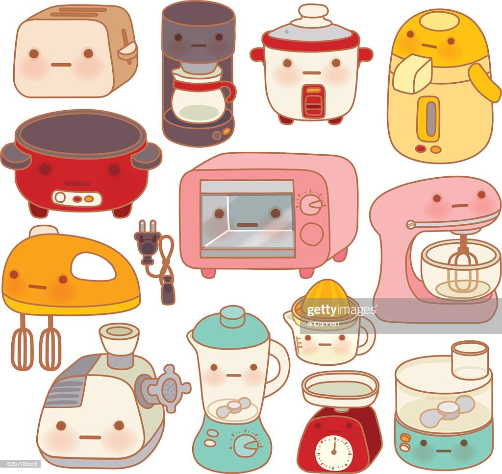 Set of adorable kitchen appliances , cute kettle , lovely oven ,