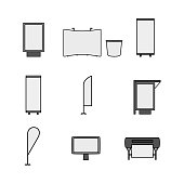 Set of advertising, promo and printing vector line icons isolated on a white background