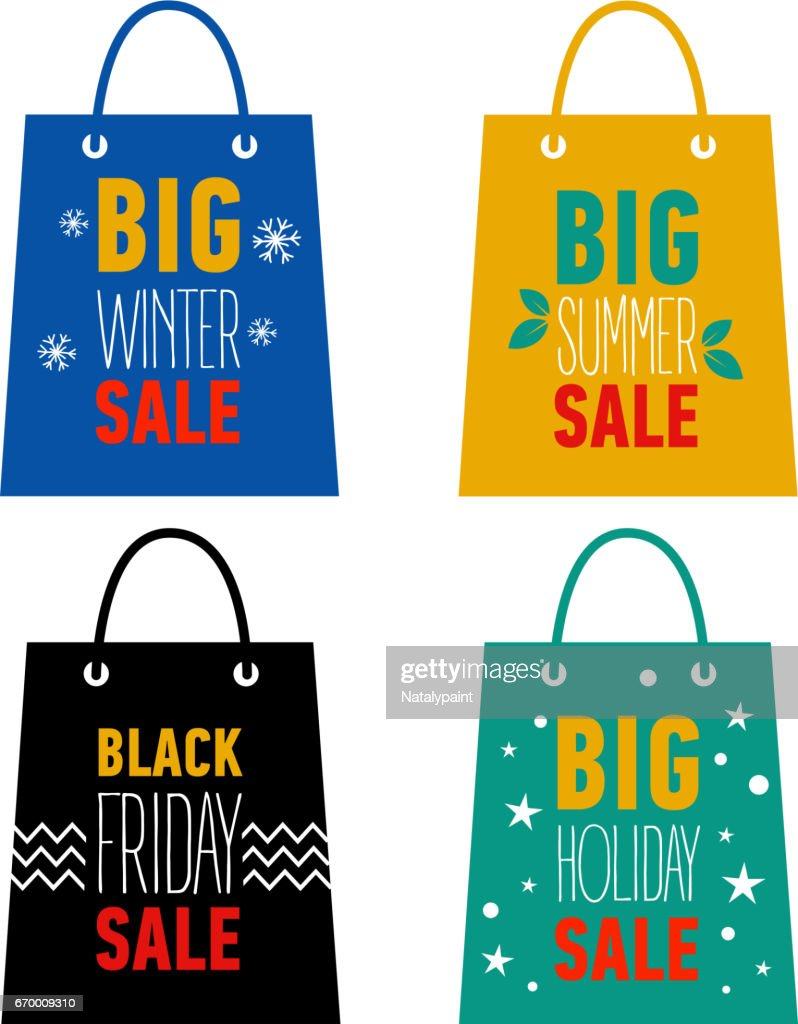 Set of advertising shopping bags. Big winter, summer, holiday sale, black friday sale.