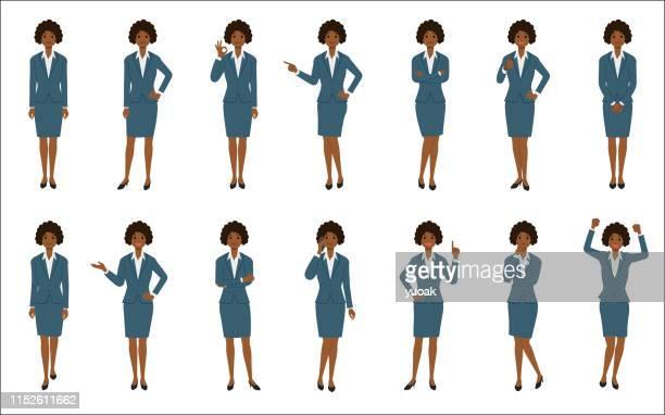 ilustraciones, imágenes clip art, dibujos animados e iconos de stock de conjunto de empresaria afroamericana aislada sobre fondo blanco - africano americano