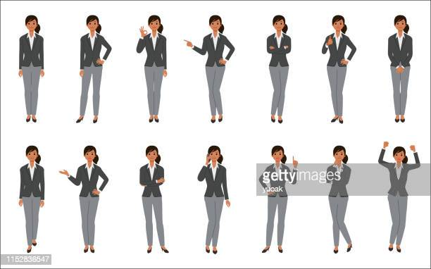 set of african american businesswoman isolated on white background - businesswear stock illustrations