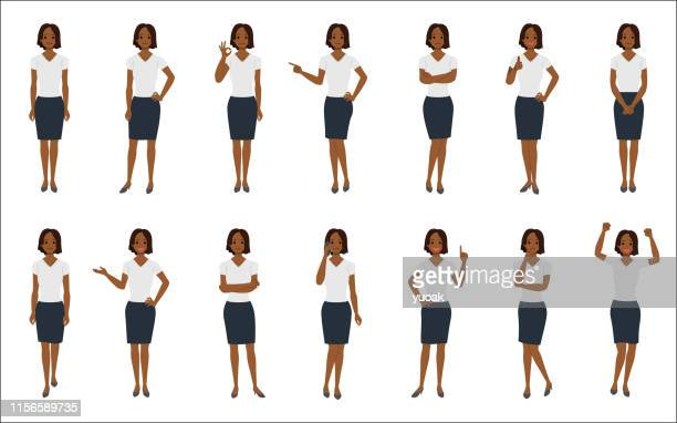 set of african american businesswoman isolated on white background - one woman only stock illustrations