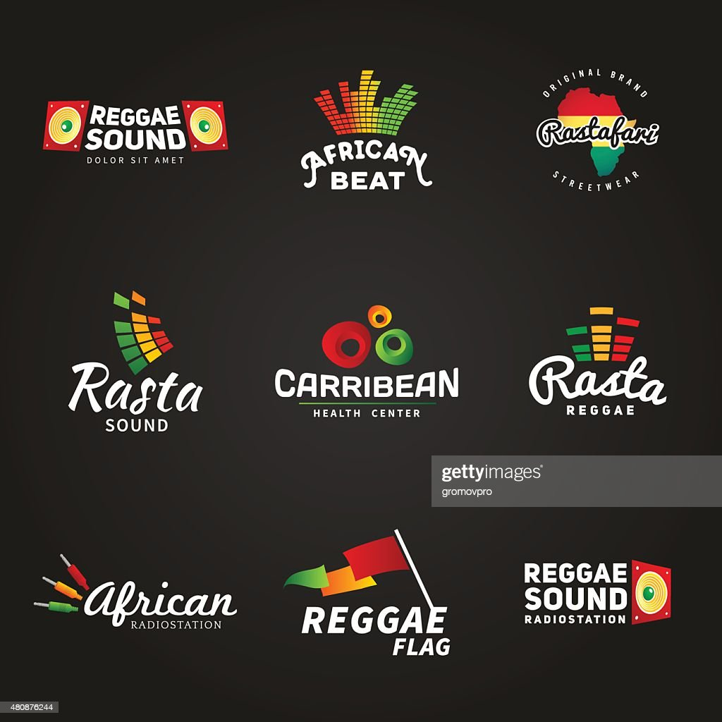 Set of african rastafari sound vector logo designs. Jamaica reggae