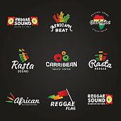 Set of african rastafari sound vector logo designs. Jamaica reggae