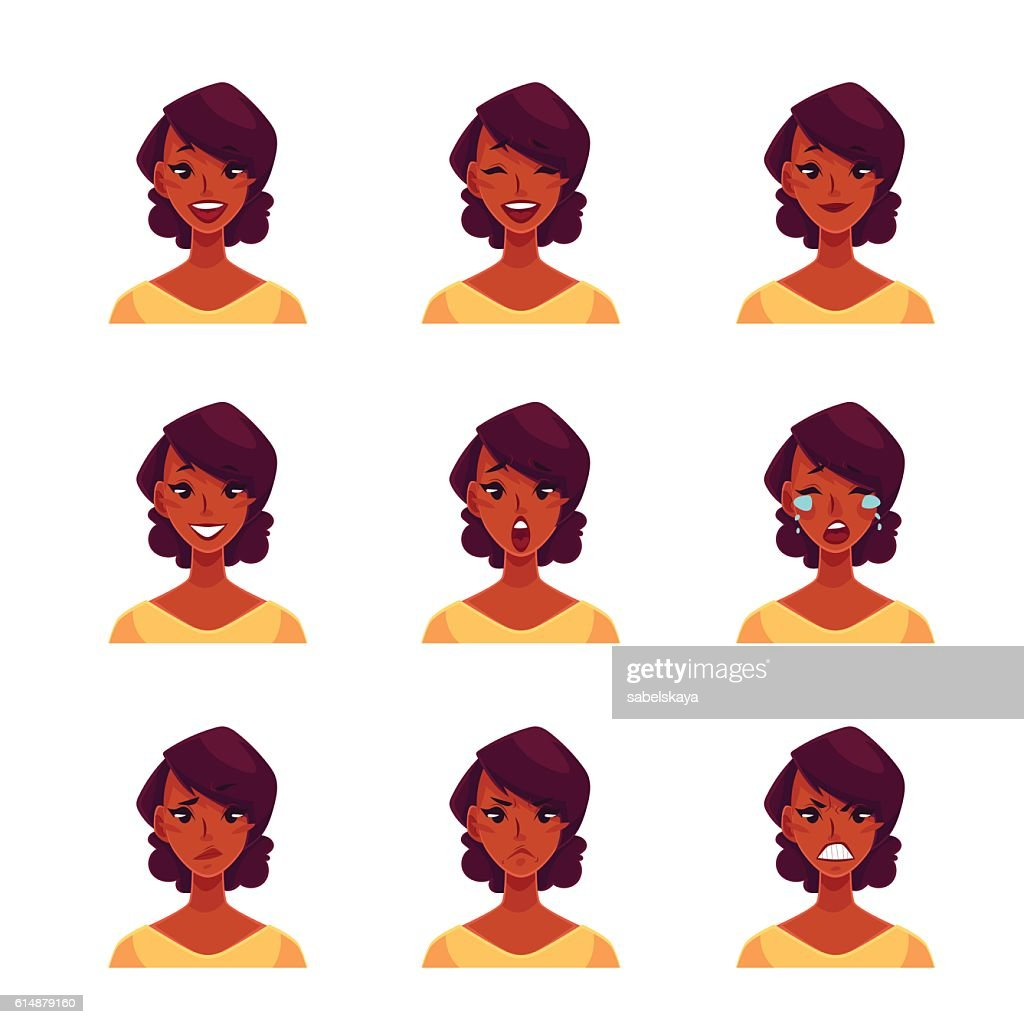 Set of african woman face expression avatars