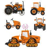 Set of agricultural tractors.
