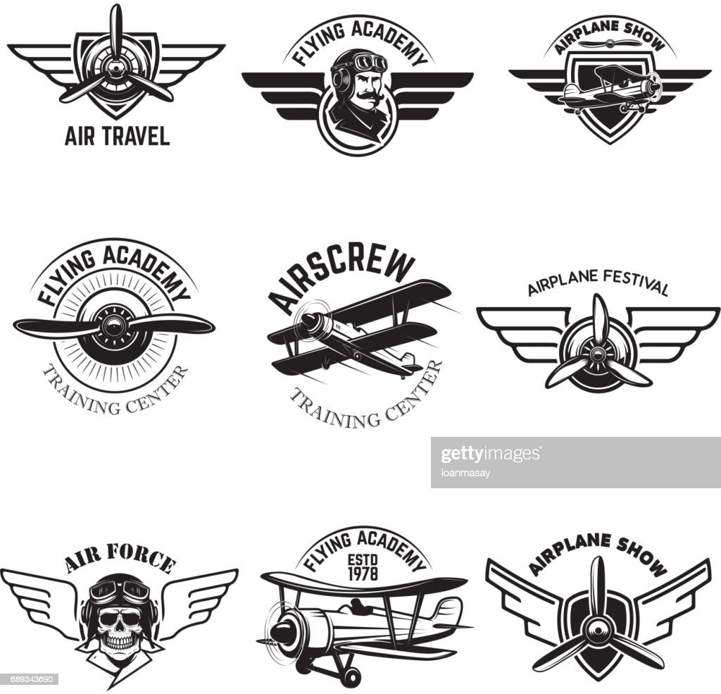 Set of air force, airplane show, flying academy emblems. Vintage planes. Design elements for badge, label. Vector illustration.