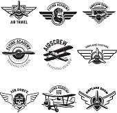 Set of air force, airplane show, flying academy emblems. Vintage planes. Design elements for badge, label. Vector illustration.