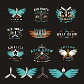 Set of air force and air show emblem