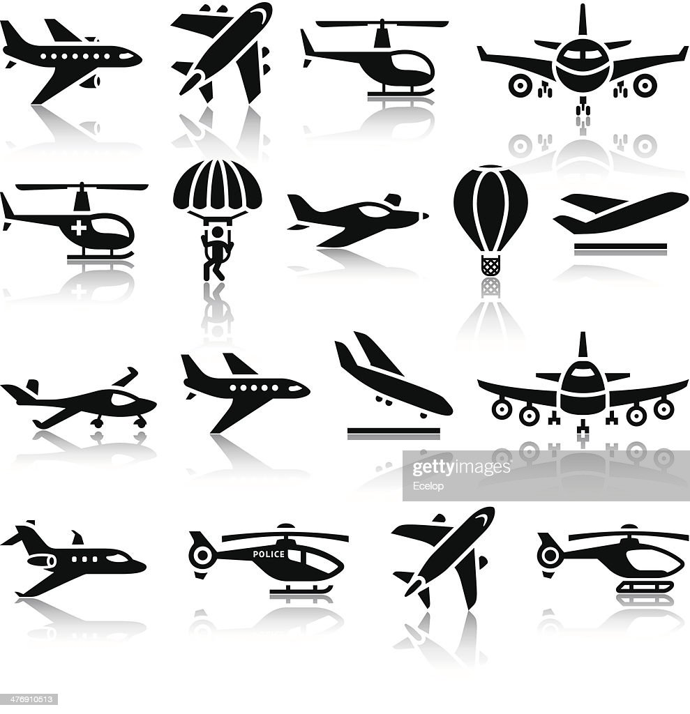 Set of aircrafts black icons