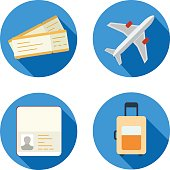 Set of airplane icons in flat design style vector