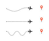 Set of airplane path to location pin. Plane route lines. Tourism and travel vector illustration.