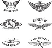 Set of airplane show labels isolated on white background.