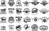 Set of airplane training center emblems. Design elements for label, emblem, sign. Vector illustration.