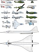 set of airplanes and helicopters