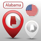 Set of Alabama state with flag America and map pointer