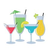 Set of alcoholic cocktails isolated on white background. Different cocktails with blue, orange, green and red color. Vector Illustration