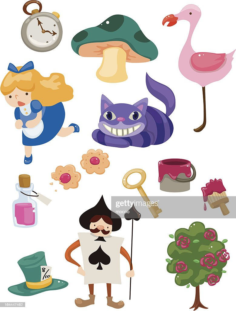 Set of Alice in Wonderland icons