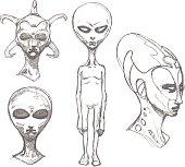 Set of alien portraits. Pencil drawing sketch.