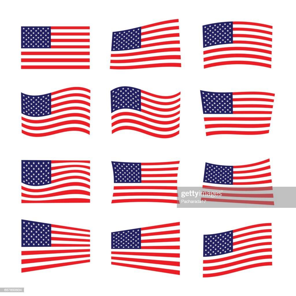 set of america flag, vector illustration.