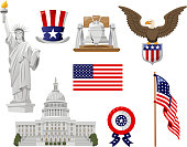 Set of American culture pictures on a white background