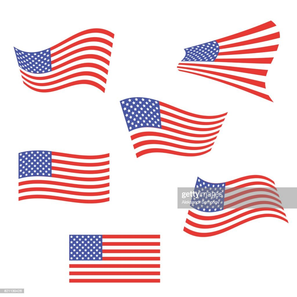 Set of American flags. US flags are flapping in the wind. Vector illustration