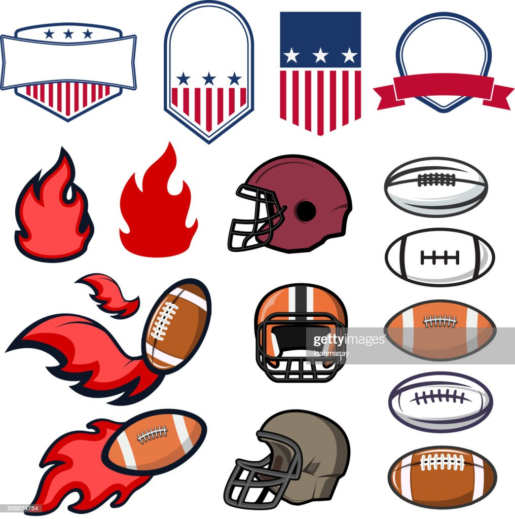 Set of American Football emblems design element and templates. A