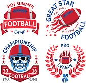 Set of american football labels with  burning ball, scull in