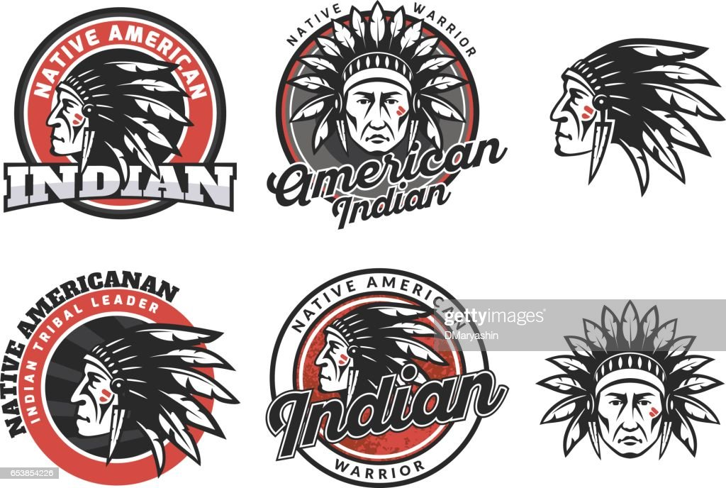 Set of american indian round logo, badges and emblems isolated on white background. Face of american indian.
