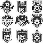 Set of american soccer team labels. Emblems with football balls. Vector illustration