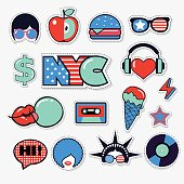 set of american trendy color patches, stickers and pins
