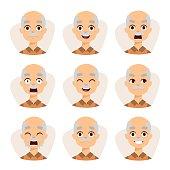 Set of an old man emotions simple flat design illustration